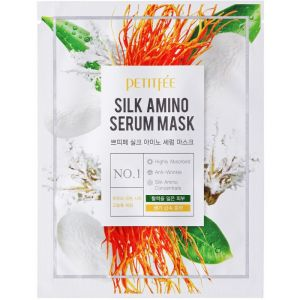 Лифтинг-маска для лица с протеинами шелка Silk Amino Serum Mask  Petitfee
